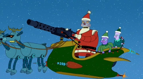 Robot Santa from Futurama! No thanks, I'll take the one from Miracle on 34th Street instead!