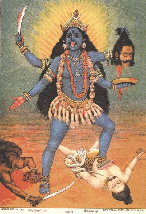 19th Century lithograph of Kali by R. Varma. Public Domain.